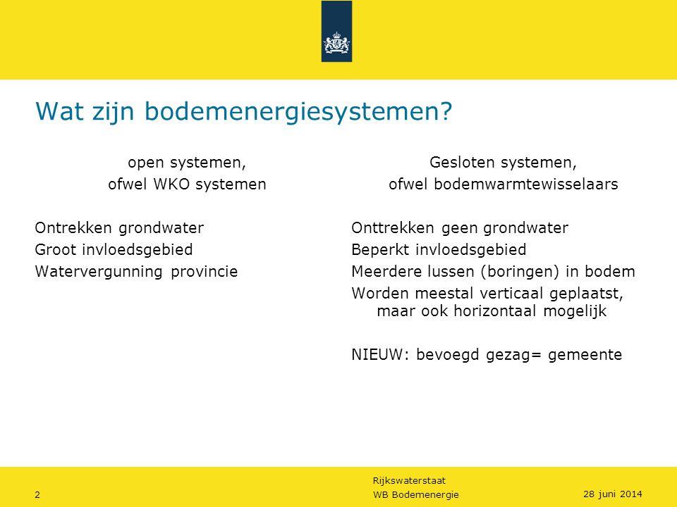 Rijkswaterstaat 2WB Bodemenergie Wat zijn bodemenergiesystemen? open systemen, ofwel WKO systemen Ontrekken grondwater Groot invloedsgebied Watervergu