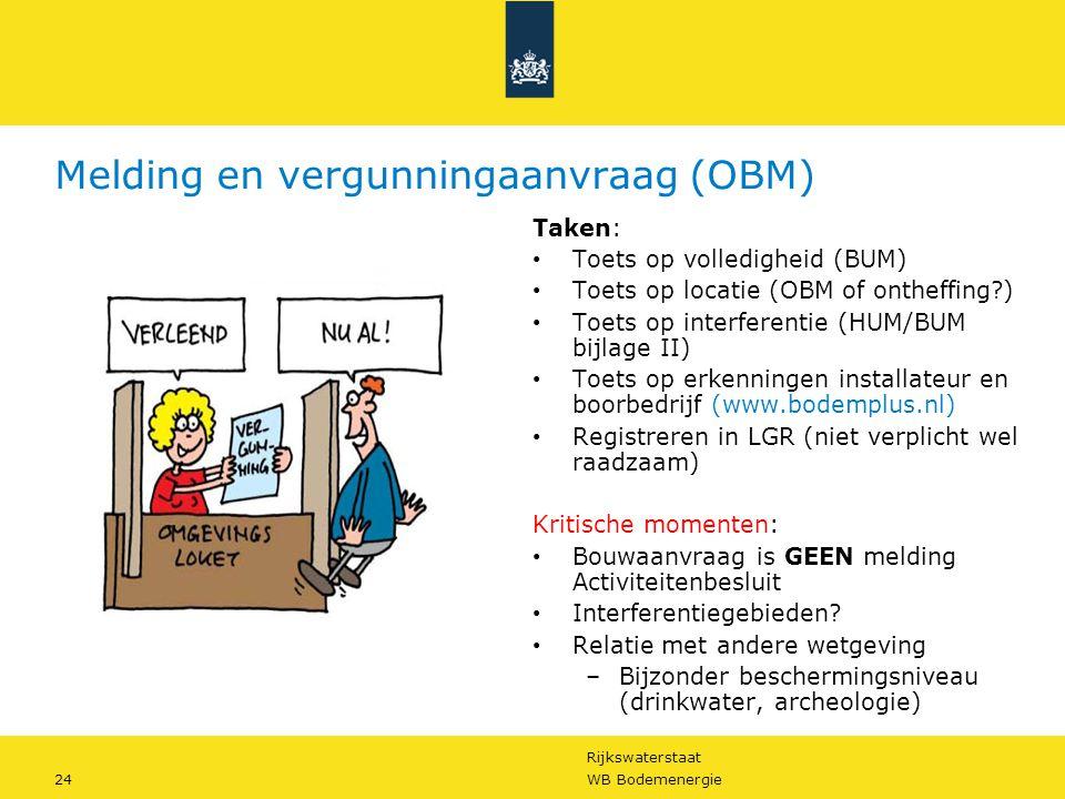 Rijkswaterstaat 24WB Bodemenergie Melding en vergunningaanvraag (OBM) Taken: • Toets op volledigheid (BUM) • Toets op locatie (OBM of ontheffing?) • T