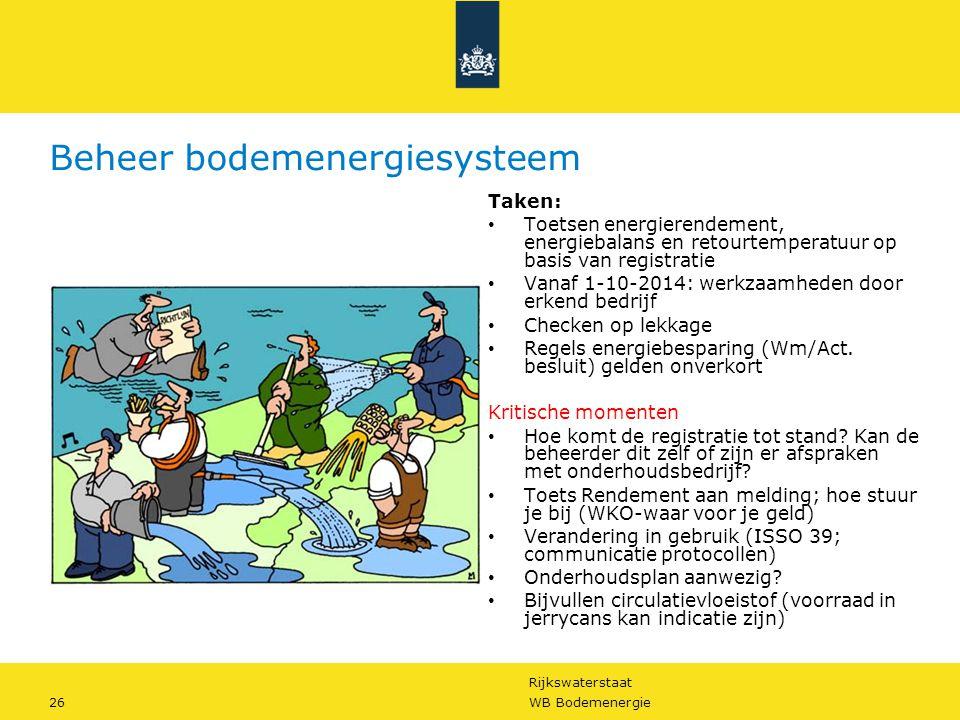 Rijkswaterstaat 26WB Bodemenergie Beheer bodemenergiesysteem Taken: • Toetsen energierendement, energiebalans en retourtemperatuur op basis van regist