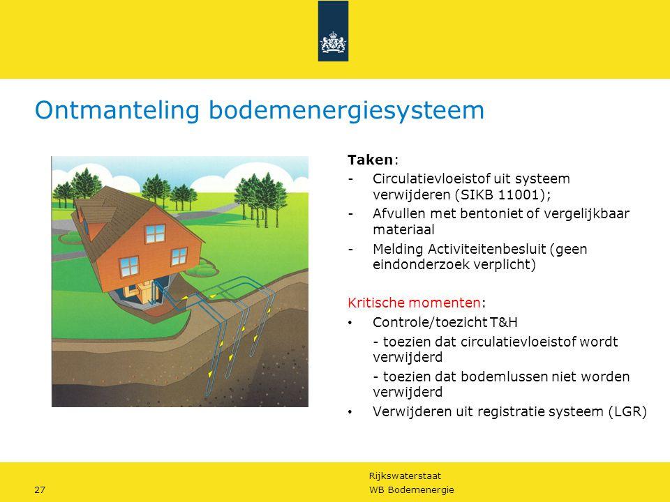 Rijkswaterstaat 27WB Bodemenergie Ontmanteling bodemenergiesysteem Taken: -Circulatievloeistof uit systeem verwijderen (SIKB 11001); -Afvullen met ben