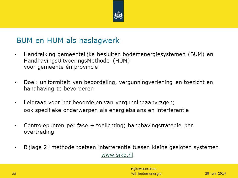 Rijkswaterstaat 28WB Bodemenergie 28 juni 2014 BUM en HUM als naslagwerk • Handreiking gemeentelijke besluiten bodemenergiesystemen (BUM) en Handhavin