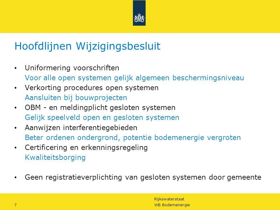 Rijkswaterstaat 7WB Bodemenergie Hoofdlijnen Wijzigingsbesluit • Uniformering voorschriften Voor alle open systemen gelijk algemeen beschermingsniveau