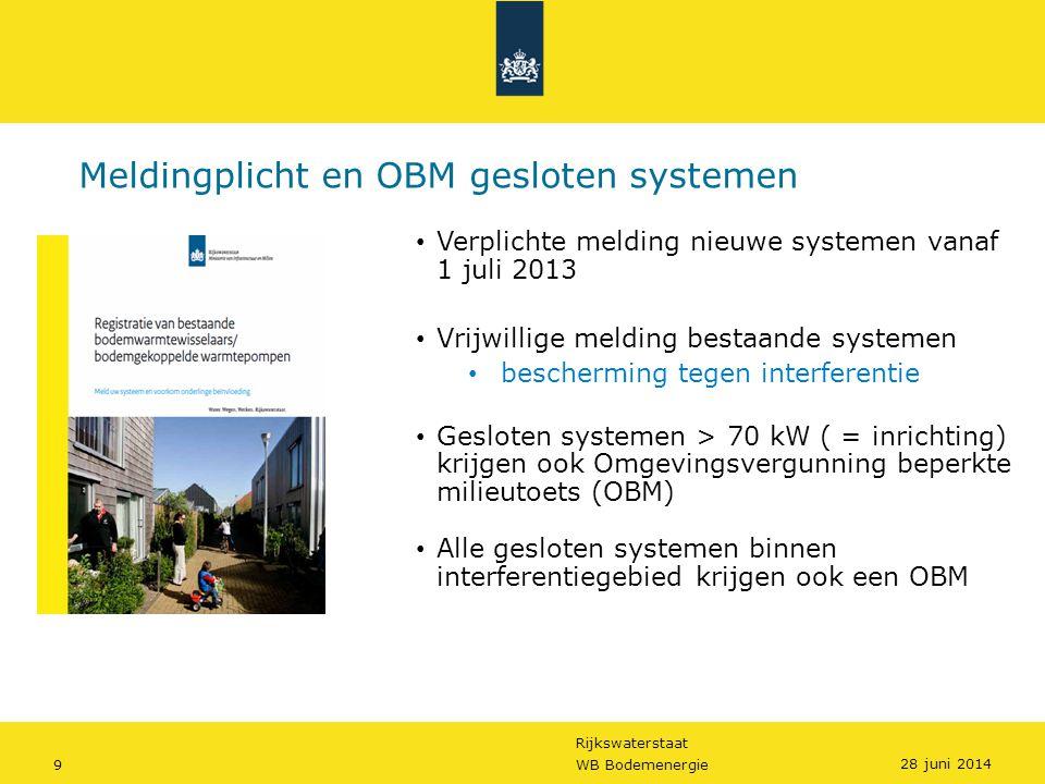 Rijkswaterstaat 9WB Bodemenergie Meldingplicht en OBM gesloten systemen • Verplichte melding nieuwe systemen vanaf 1 juli 2013 • Vrijwillige melding b