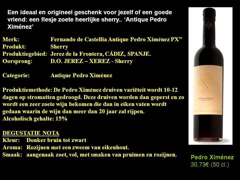 Twee kwalitatieve, speciale, sherry's uit het zuide van Spanje Antique Pedro Ximénez 50 cl. 30,73€ Pedro Ximénez 75 cl. 18,13€