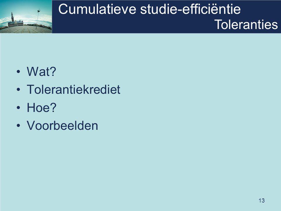 13 Cumulatieve studie-efficiëntie •Wat? •Tolerantiekrediet •Hoe? •Voorbeelden Toleranties