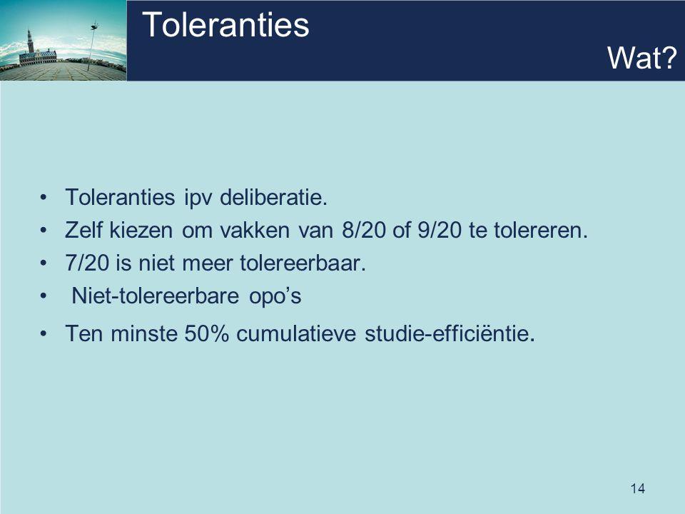 14 Toleranties •Toleranties ipv deliberatie. •Zelf kiezen om vakken van 8/20 of 9/20 te tolereren.
