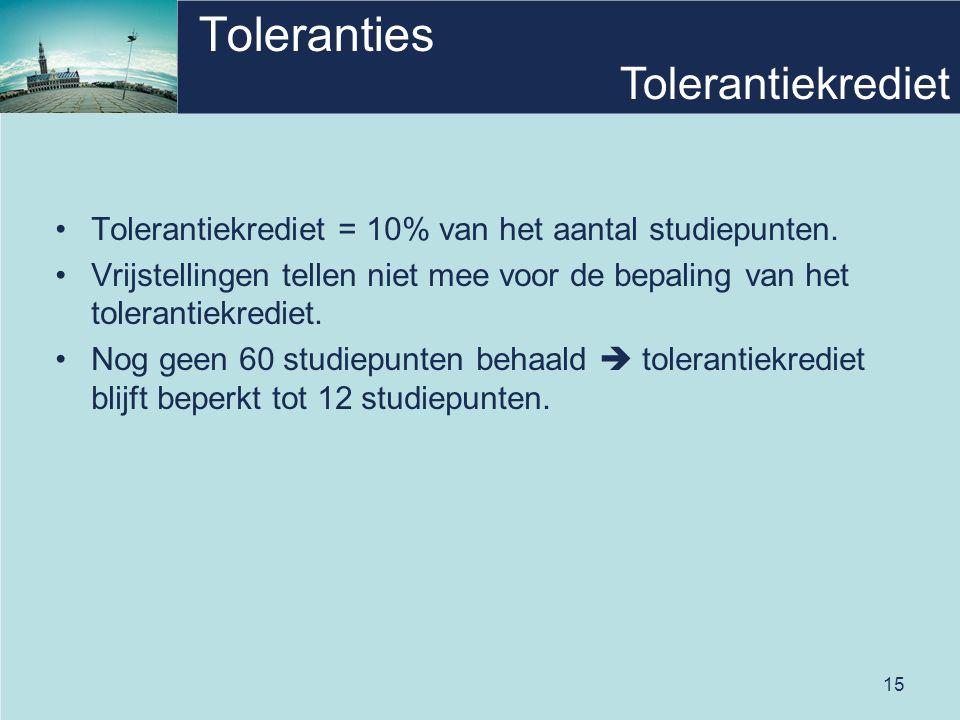 15 Toleranties •Tolerantiekrediet = 10% van het aantal studiepunten. •Vrijstellingen tellen niet mee voor de bepaling van het tolerantiekrediet. •Nog