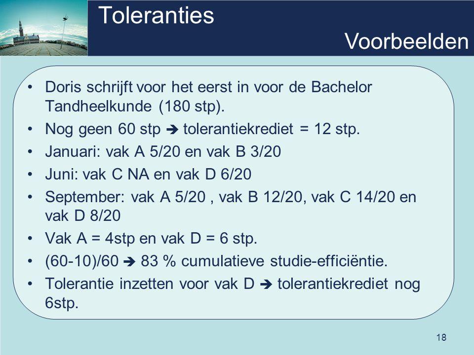 18 Toleranties •Doris schrijft voor het eerst in voor de Bachelor Tandheelkunde (180 stp). •Nog geen 60 stp  tolerantiekrediet = 12 stp. •Januari: va