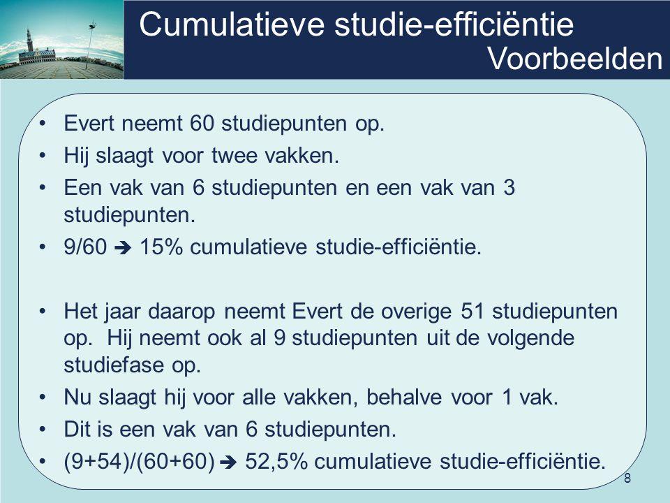 8 Cumulatieve studie-efficiëntie •Evert neemt 60 studiepunten op. •Hij slaagt voor twee vakken. •Een vak van 6 studiepunten en een vak van 3 studiepun