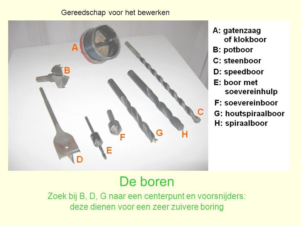 De boren Zoek bij B, D, G naar een centerpunt en voorsnijders: deze dienen voor een zeer zuivere boring Gereedschap voor het bewerken