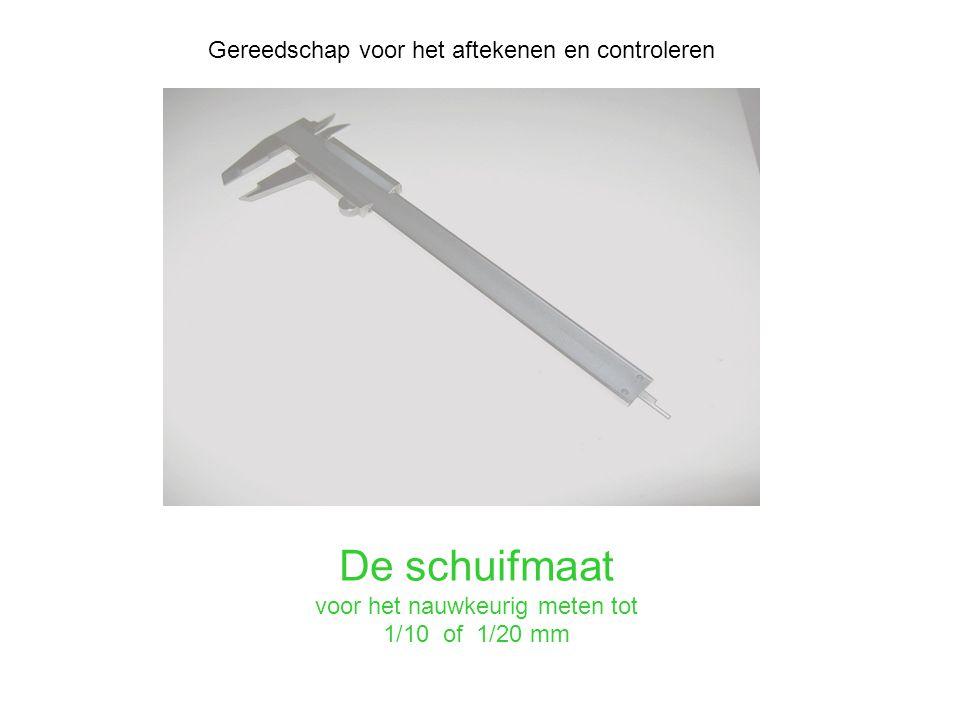 De schuifmaat voor het nauwkeurig meten tot 1/10 of 1/20 mm Gereedschap voor het aftekenen en controleren
