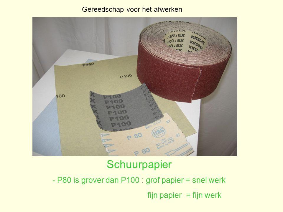 Schuurpapier - P80 is grover dan P100 : grof papier = snel werk fijn papier = fijn werk Gereedschap voor het afwerken