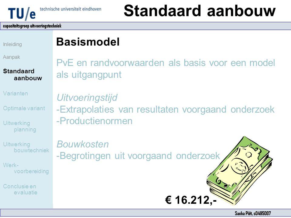 Standaard aanbouw Inleiding Aanpak Standaard aanbouw Varianten Optimale variant Uitwerking planning Uitwerking bouwtechniek Werk- voorbereiding Conclu