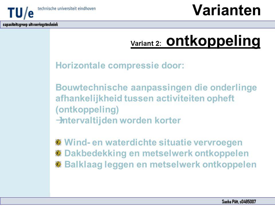 Varianten Variant 2: ontkoppeling Horizontale compressie door: Bouwtechnische aanpassingen die onderlinge afhankelijkheid tussen activiteiten opheft (