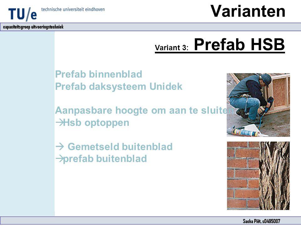 Varianten Variant 3: Prefab HSB Prefab binnenblad Prefab daksysteem Unidek Aanpasbare hoogte om aan te sluiten  Hsb optoppen  Gemetseld buitenblad 
