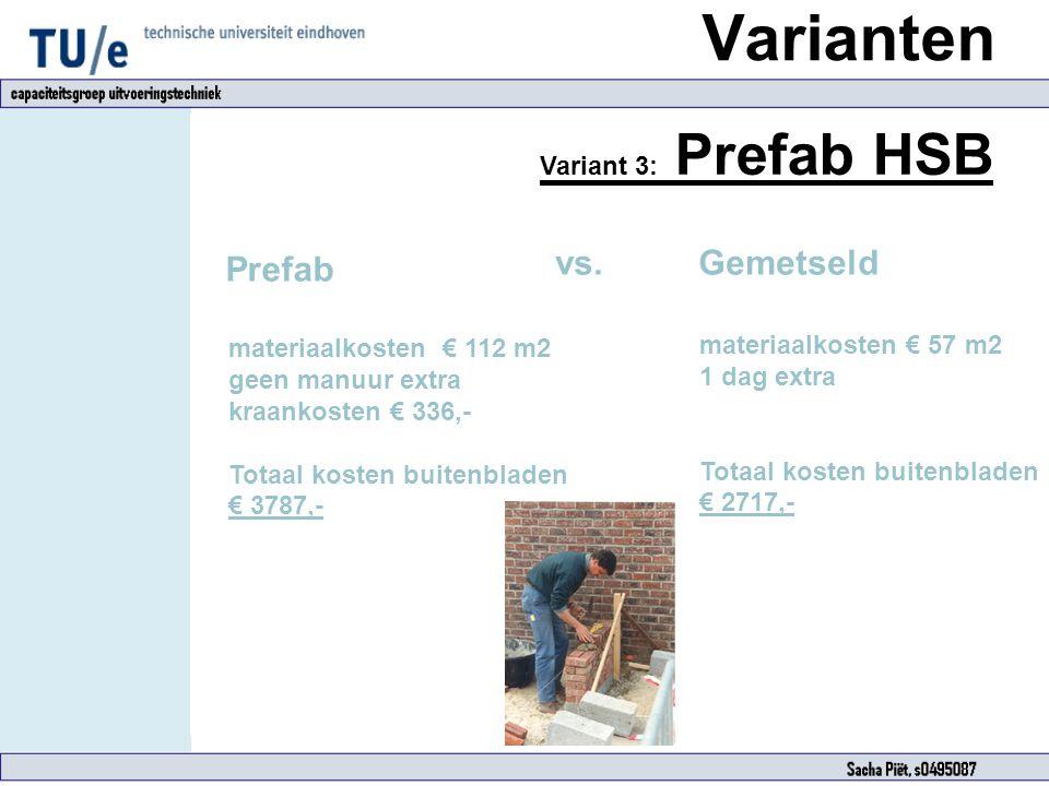 Variant 3: Prefab HSB Prefab materiaalkosten € 112 m2 geen manuur extra kraankosten € 336,- Totaal kosten buitenbladen € 3787,- materiaalkosten € 57 m