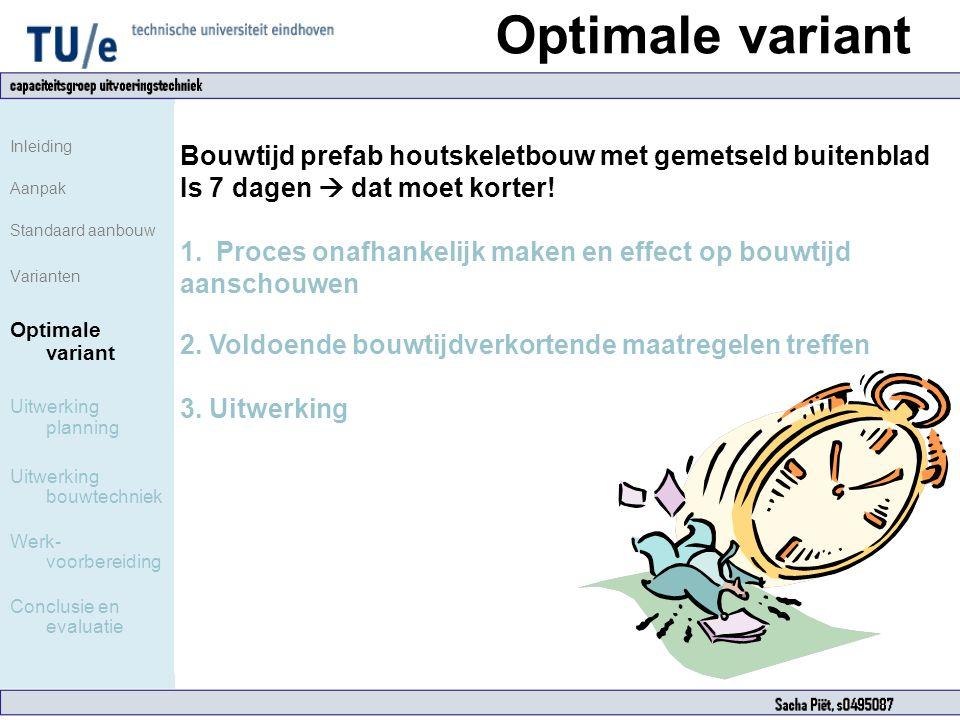 Optimale variant Inleiding Aanpak Standaard aanbouw Varianten Optimale variant Uitwerking planning Uitwerking bouwtechniek Werk- voorbereiding Conclus