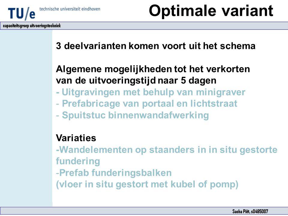 Optimale variant 3 deelvarianten komen voort uit het schema Algemene mogelijkheden tot het verkorten van de uitvoeringstijd naar 5 dagen - Uitgravinge