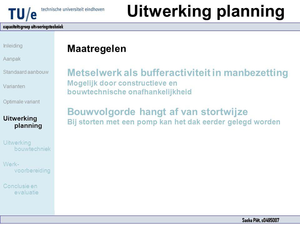Uitwerking planning Inleiding Aanpak Standaard aanbouw Varianten Optimale variant Uitwerking planning Uitwerking bouwtechniek Werk- voorbereiding Conc