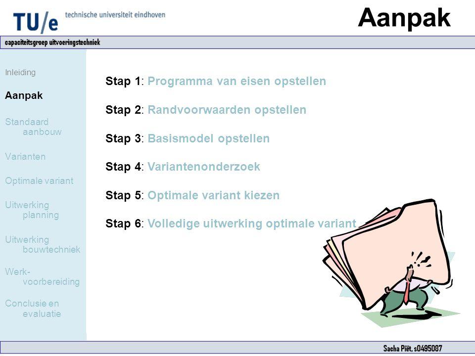 Aanpak Inleiding Aanpak Standaard aanbouw Varianten Optimale variant Uitwerking planning Uitwerking bouwtechniek Werk- voorbereiding Conclusie en eval