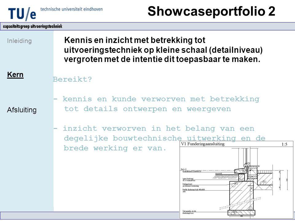 Showcaseportfolio 2 Inleiding Kern Afsluiting Kennis en inzicht met betrekking tot uitvoeringstechniek op kleine schaal (detailniveau) vergroten met d