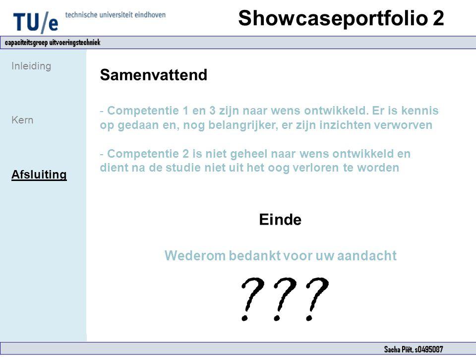 Showcaseportfolio 2 Inleiding Kern Afsluiting Samenvattend - Competentie 1 en 3 zijn naar wens ontwikkeld. Er is kennis op gedaan en, nog belangrijker