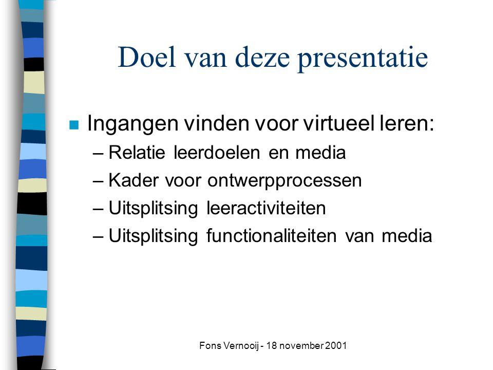 Fons Vernooij - 18 november 2001 Doel van deze presentatie n Ingangen vinden voor virtueel leren: –Relatie leerdoelen en media –Kader voor ontwerpprocessen –Uitsplitsing leeractiviteiten –Uitsplitsing functionaliteiten van media