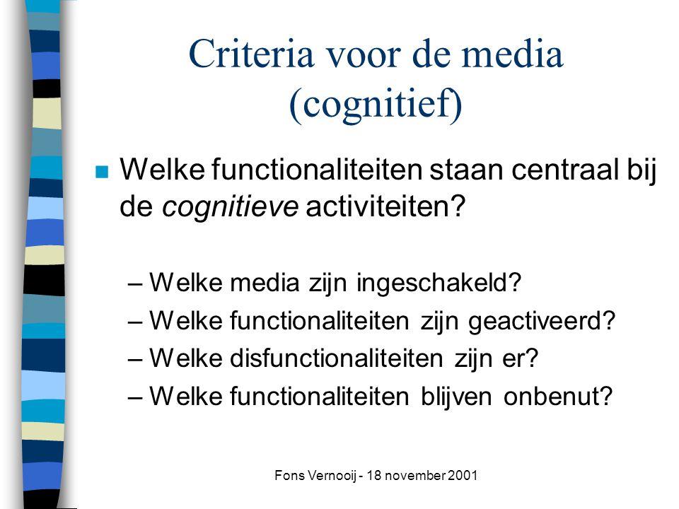 Fons Vernooij - 18 november 2001 Criteria voor de media (cognitief) n Welke functionaliteiten staan centraal bij de cognitieve activiteiten.
