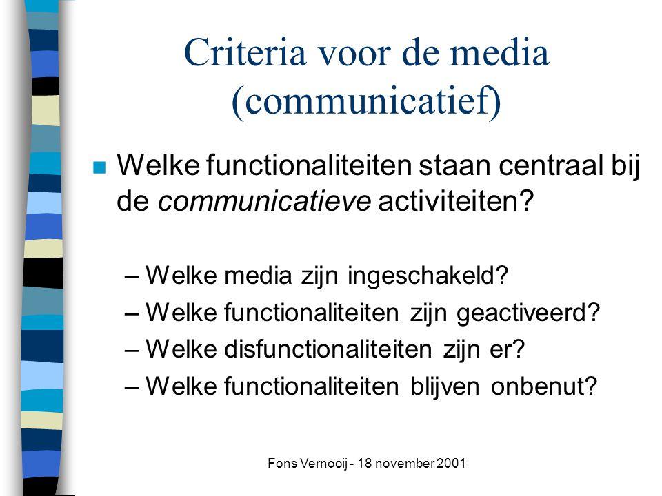 Fons Vernooij - 18 november 2001 Criteria voor de media (communicatief) n Welke functionaliteiten staan centraal bij de communicatieve activiteiten.