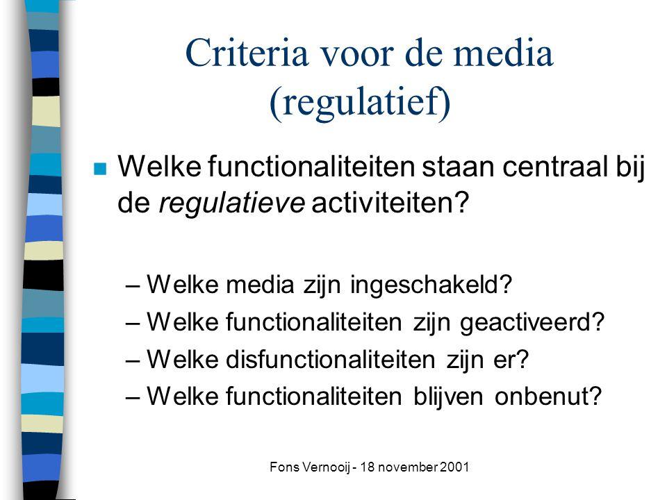 Fons Vernooij - 18 november 2001 Criteria voor de media (regulatief) n Welke functionaliteiten staan centraal bij de regulatieve activiteiten.