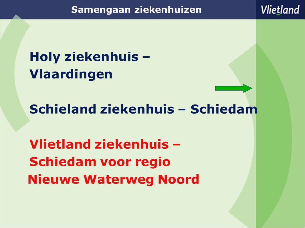 Samengaan ziekenhuizen Holy ziekenhuis – Vlaardingen Schieland ziekenhuis – Schiedam Vlietland ziekenhuis – Schiedam voor regio Nieuwe Waterweg Noord