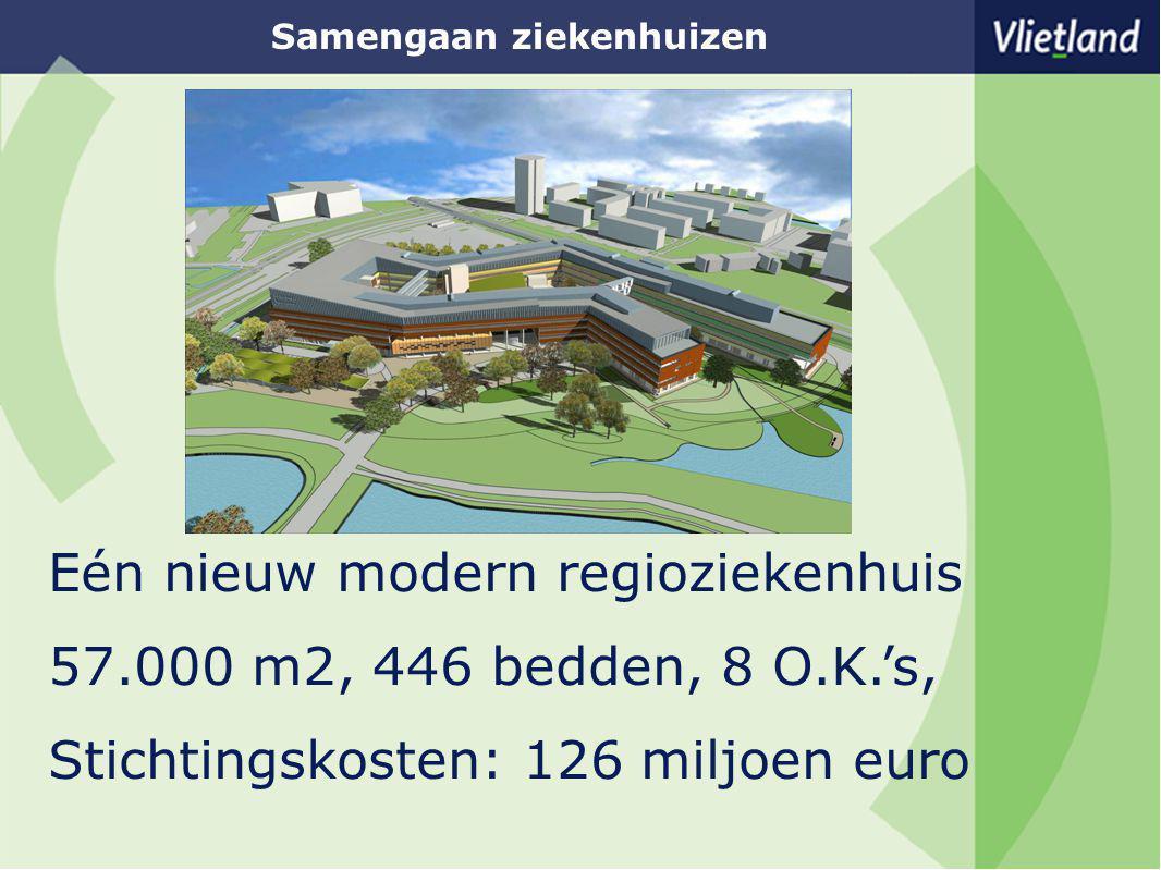 Samengaan ziekenhuizen Eén nieuw modern regioziekenhuis 57.000 m2, 446 bedden, 8 O.K.'s, Stichtingskosten: 126 miljoen euro