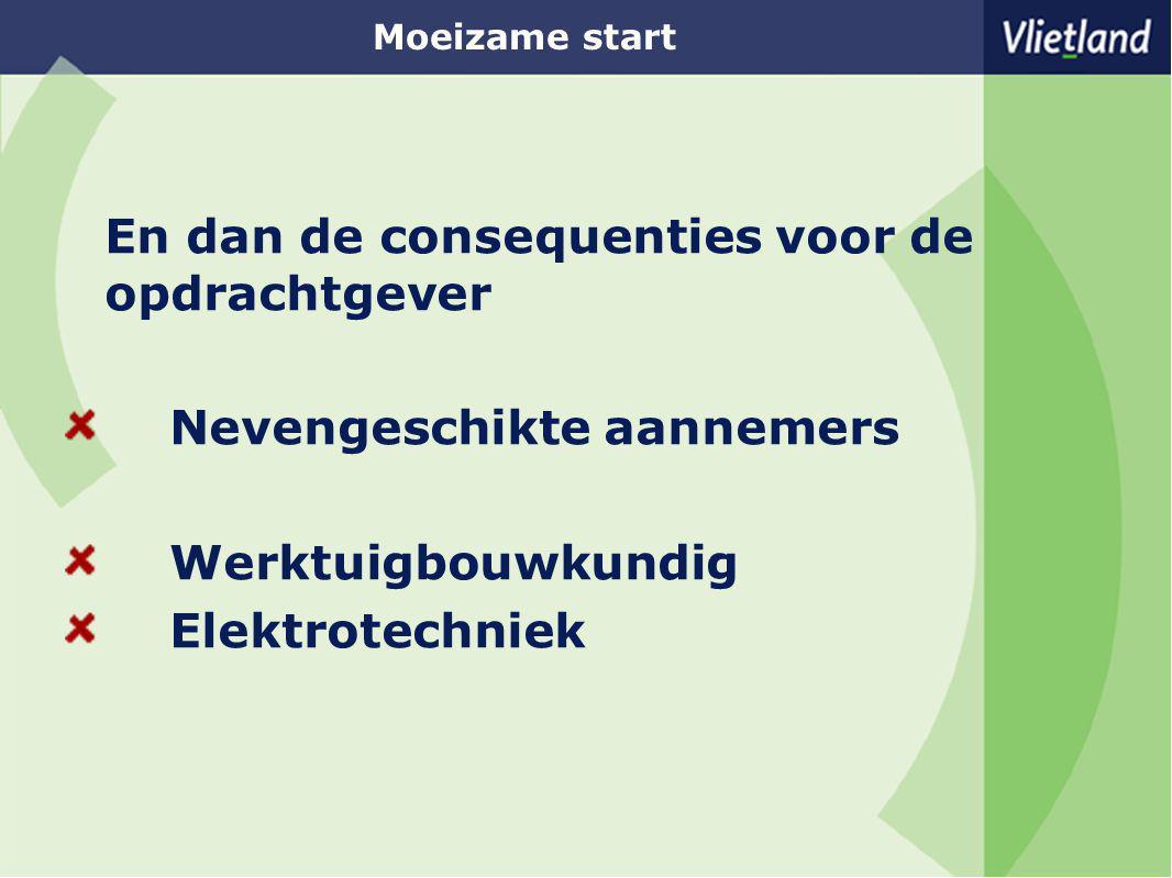 Moeizame start En dan de consequenties voor de opdrachtgever Nevengeschikte aannemers Werktuigbouwkundig Elektrotechniek