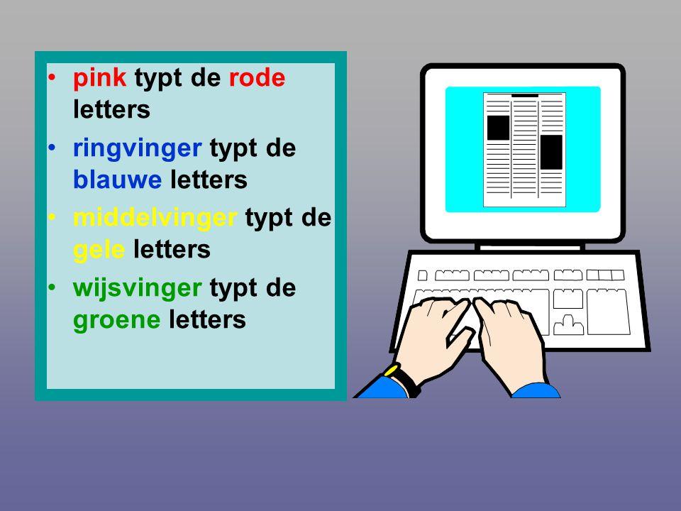 •p•pink typt de rode letters •r•ringvinger typt de blauwe letters •m•middelvinger typt de gele letters •w•wijsvinger typt de groene letters