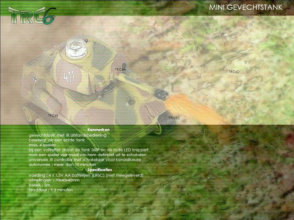 Kenmerken gevechtstank met IR afstandsbediening beweegt als een echte tank max. 4 spelers bij een voltreffer draait de tank 360° en de rode LED knippe