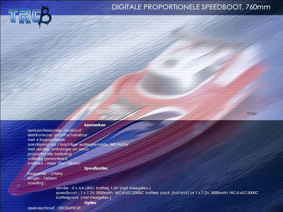 Kenmerken semi-professionele raceboot elektronische on/off schakelaar met 4 frequentiesets aandrijving via 1 krachtige watergekoelde 540 motor met zen