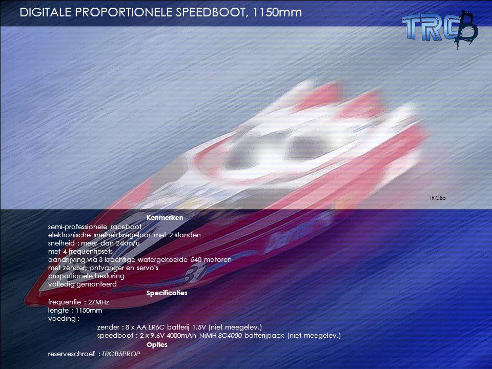 Kenmerken semi-professionele raceboot elektronische snelheidsregelaar met 2 standen snelheid : meer dan 24km/u met 4 frequentiesets aandrijving via 3