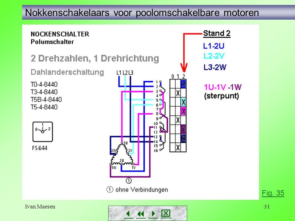Ivan Maesen31 Nokkenschakelaars voor poolomschakelbare motoren        Fig. 35