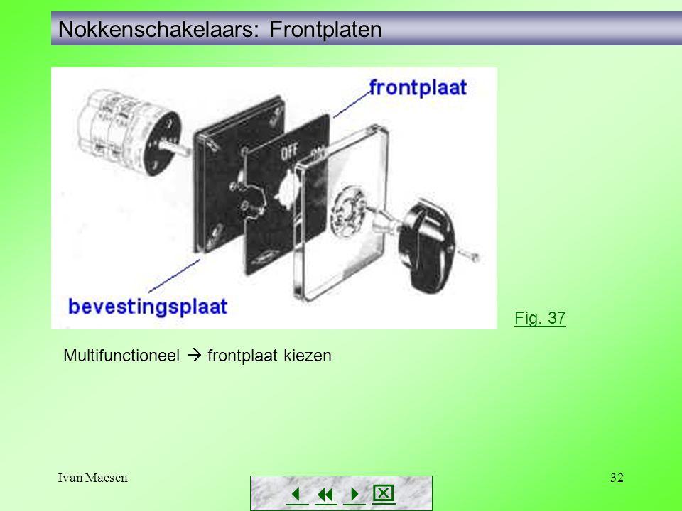 Ivan Maesen32 Nokkenschakelaars: Frontplaten        Fig. 37 Multifunctioneel  frontplaat kiezen