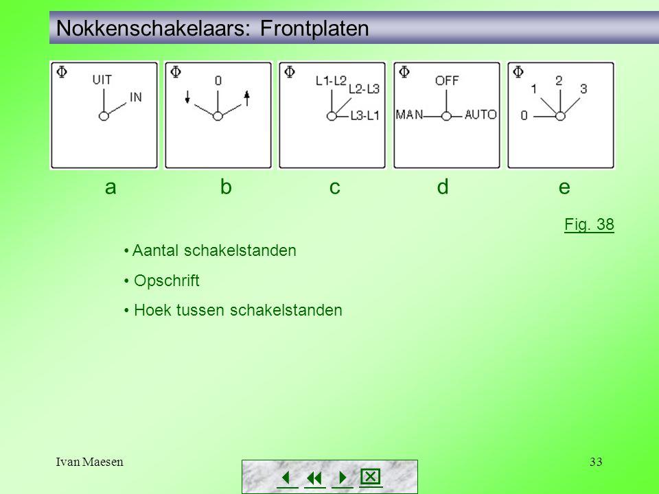 Ivan Maesen33 Nokkenschakelaars: Frontplaten        Fig. 38 • Aantal schakelstanden • Opschrift • Hoek tussen schakelstanden a b c d e