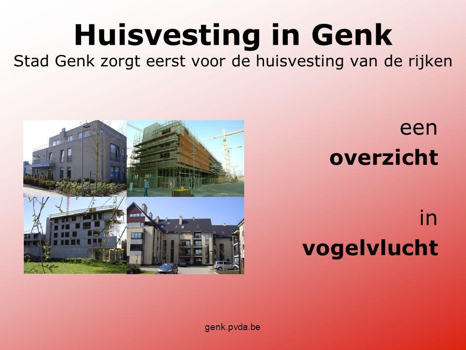 genk.pvda.be Huisvesting in Genk Stad Genk zorgt eerst voor de huisvesting van de rijken een overzicht in vogelvlucht