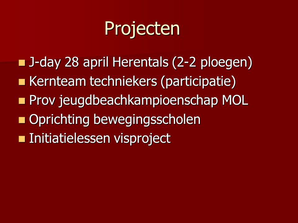 Projecten  J-day 28 april Herentals (2-2 ploegen)  Kernteam techniekers (participatie)  Prov jeugdbeachkampioenschap MOL  Oprichting bewegingsscho