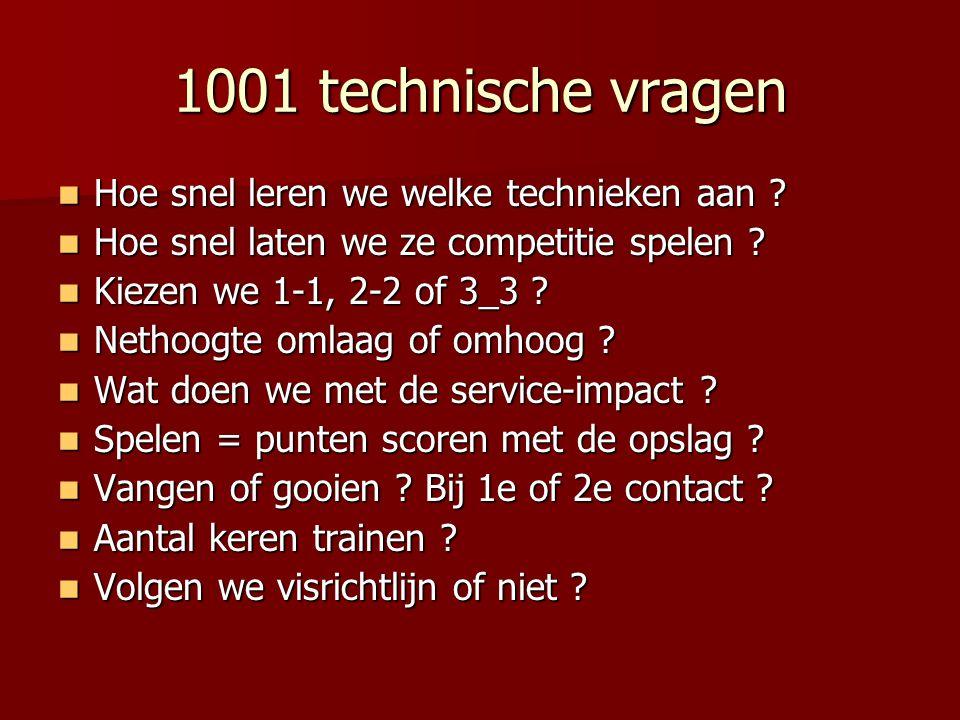 1001 technische vragen  Hoe snel leren we welke technieken aan ?  Hoe snel laten we ze competitie spelen ?  Kiezen we 1-1, 2-2 of 3_3 ?  Nethoogte