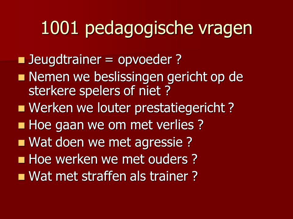 1001 pedagogische vragen  Jeugdtrainer = opvoeder ?  Nemen we beslissingen gericht op de sterkere spelers of niet ?  Werken we louter prestatiegeri