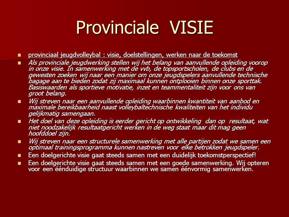 Provinciale VISIE  provinciaal jeugdvolleybal : visie, doelstellingen, werken naar de toekomst  Als provinciale jeugdwerking stellen wij het belang