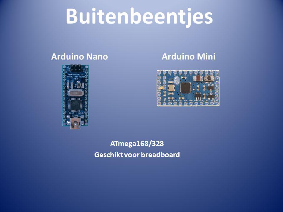 Buitenbeentjes Arduino Nano Arduino Mini ATmega168/328 Geschikt voor breadboard