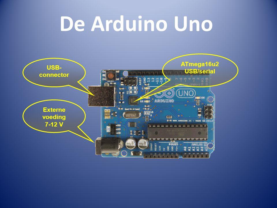 De Arduino Uno USB- connector ATmega16u2 USB/serial Externe voeding 7-12 V