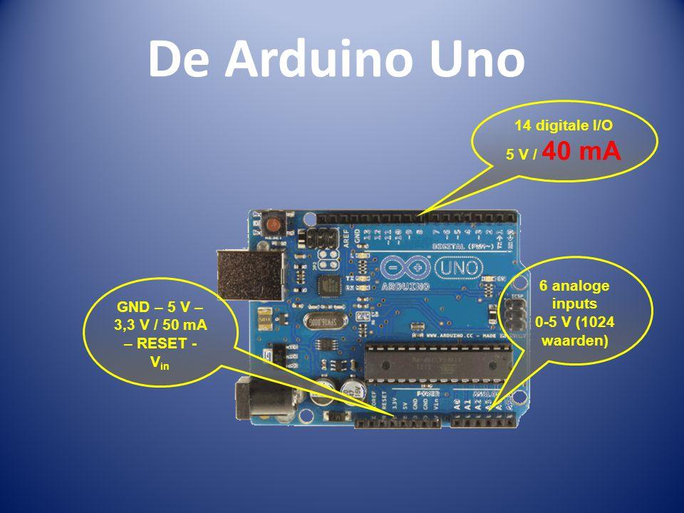 De Arduino Uno GND – 5 V – 3,3 V / 50 mA – RESET - V in 14 digitale I/O 5 V / 40 mA 6 analoge inputs 0-5 V (1024 waarden)