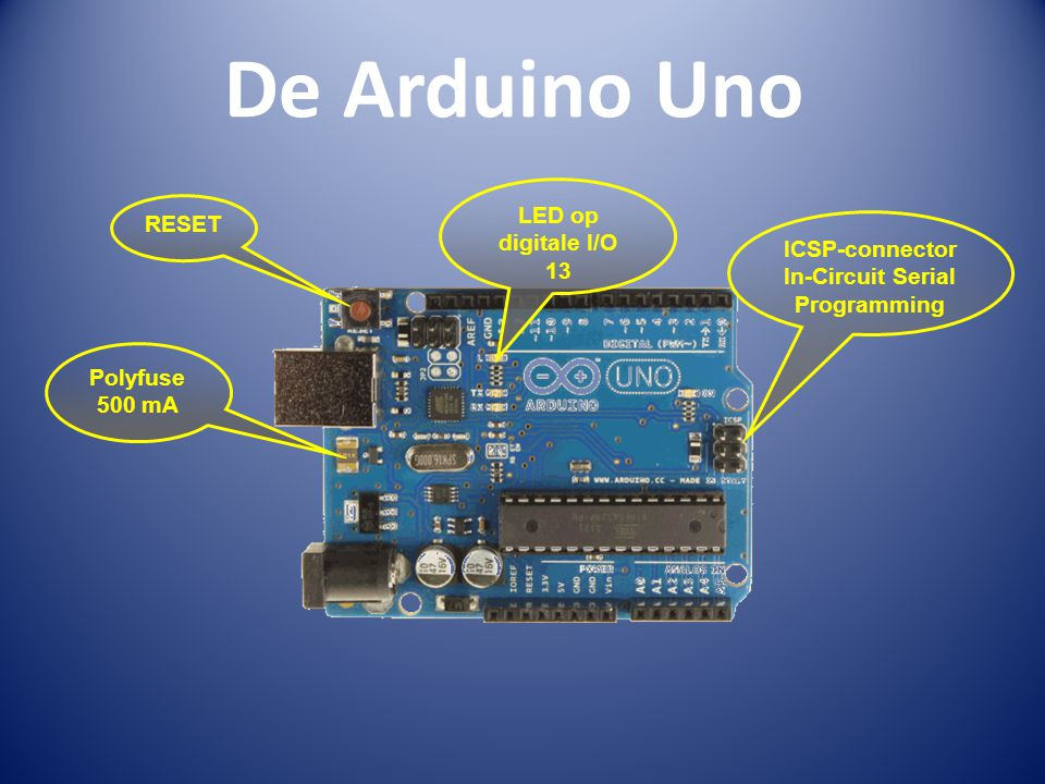 De Arduino Uno RESET ICSP-connector In-Circuit Serial Programming LED op digitale I/O 13 Polyfuse 500 mA