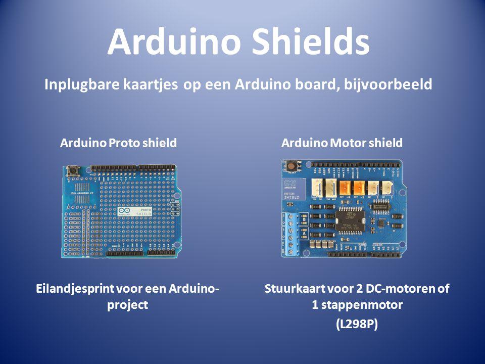 Arduino Shields Inplugbare kaartjes op een Arduino board, bijvoorbeeld Arduino Proto shieldArduino Motor shield Eilandjesprint voor een Arduino- proje